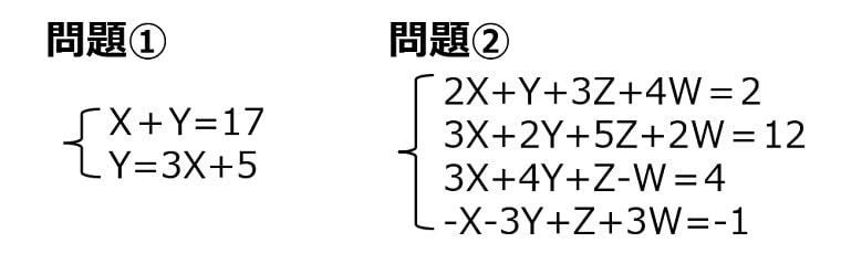 2次連立方程式と4次連立方程式